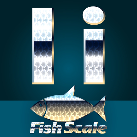scale icon: Vector set of fish scale font. Stylish gloss font. Letter I