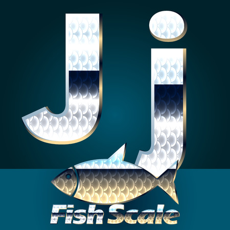 gloss: Vector set of fish scale font. Stylish gloss font. Letter J Illustration