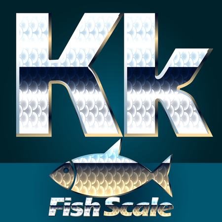 gloss: Vector set of fish scale font. Stylish gloss font. Letter K