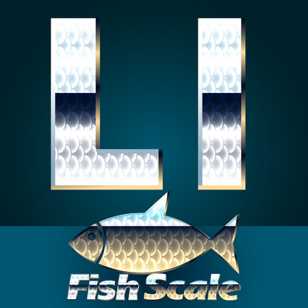 fish scale: Vector set of fish scale font. Stylish gloss font. Letter L