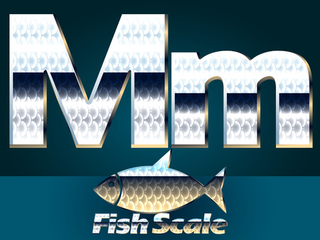 gloss: Vector set of fish scale font. Stylish gloss font. Letter M Illustration