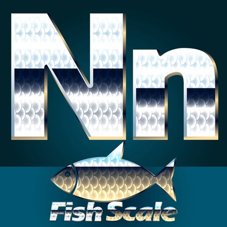 fish scale: Vector set of fish scale font. Stylish gloss font. Letter N Illustration