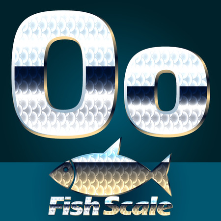 gloss: Vector set of fish scale font. Stylish gloss font. Letter O