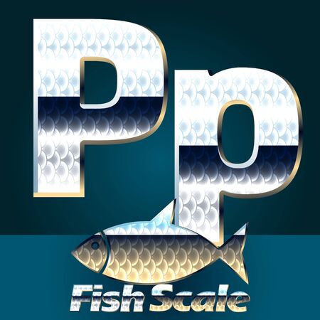 gloss: Vector set of fish scale font. Stylish gloss font. Letter P