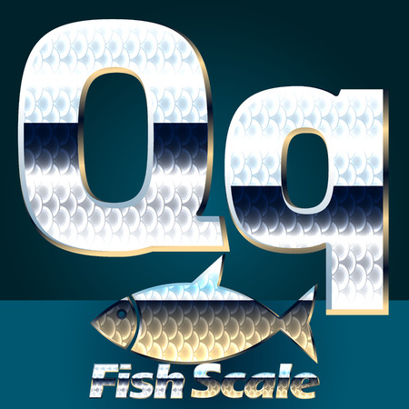 gloss: Vector set of fish scale font. Stylish gloss font. Letter Q