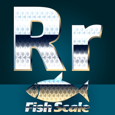 scale icon: Vector set of fish scale font. Stylish gloss font. Letter R Illustration