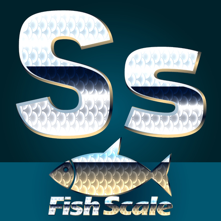 gloss: Vector set of fish scale font. Stylish gloss font. Letter S Illustration