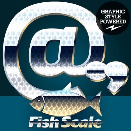 gloss: Vector set of fish scale font. Stylish gloss font. Symbols Illustration