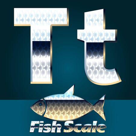 scale icon: Vector set of fish scale font. Stylish gloss font. Letter T Illustration