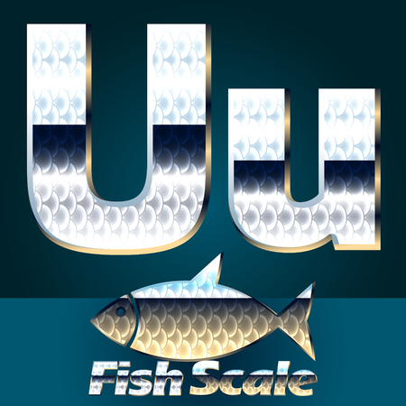fish scale: Vector set of fish scale font. Stylish gloss font. Letter U