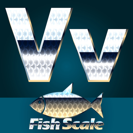 gloss: Vector set of fish scale font. Stylish gloss font. Letter V Illustration