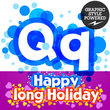 motley: set of happy festive motley alphabet. Letter Q
