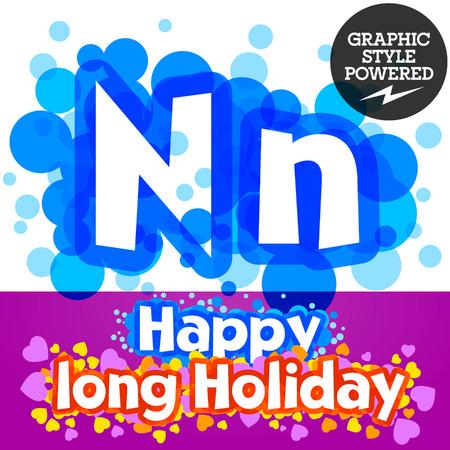 motley: set of happy festive motley alphabet. Letter N Illustration