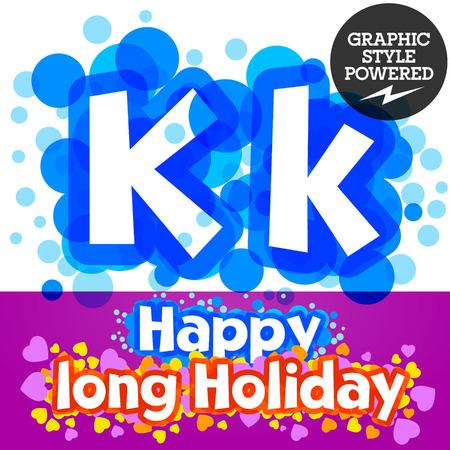 motley: set of happy festive motley alphabet. Letter K