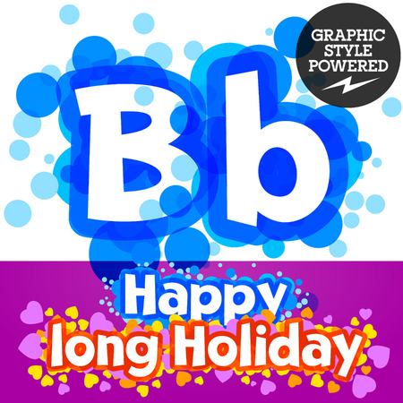 motley: set of happy festive motley alphabet. Letter B