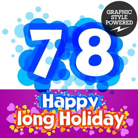 7 8: set of happy festive motley alphabet. Numbers 7 8