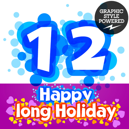 motley: set of happy festive motley alphabet. Numbers 1 2 Illustration