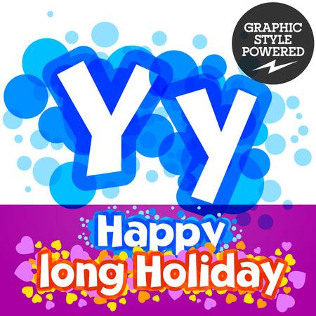 motley: set of happy festive motley alphabet. Letter Y Illustration