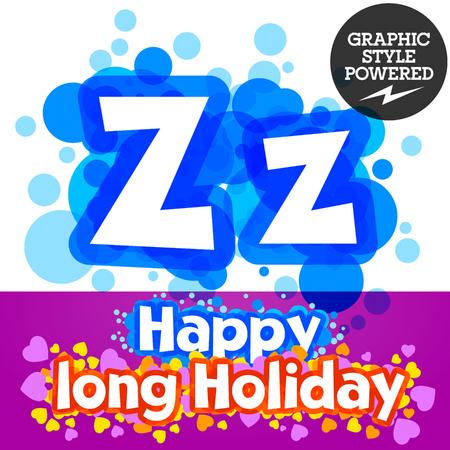 motley: set of happy festive motley alphabet. Letter Z