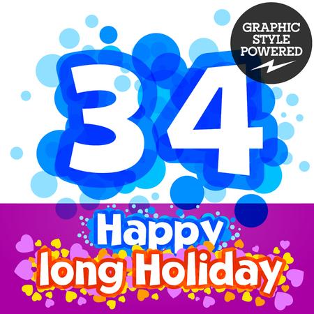 motley: set of happy festive motley alphabet. Numbers 3 4
