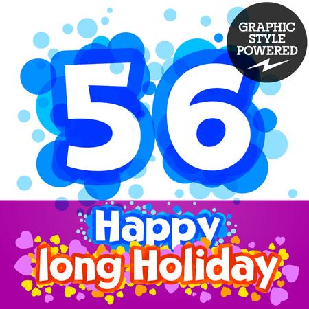 motley: set of happy festive motley alphabet. Numbers 5 6 Illustration