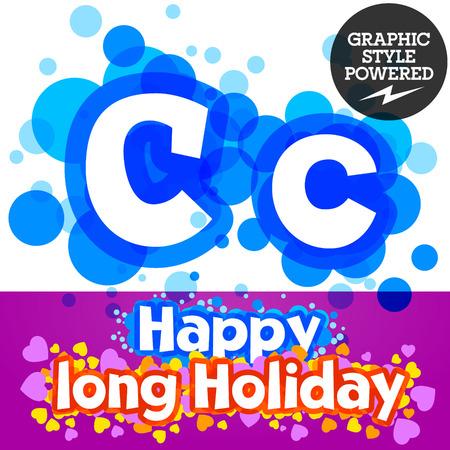 motley: Vector set of happy festive motley alphabet. Letter C Illustration