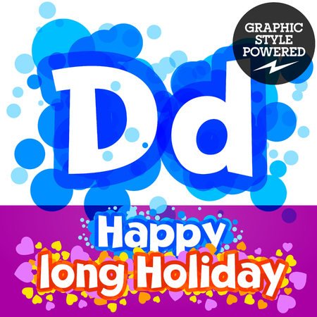 motley: set of happy festive motley alphabet. Letter D
