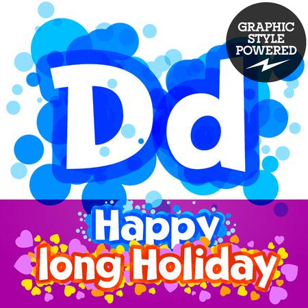 motley: set of happy festive motley alphabet. Letter D