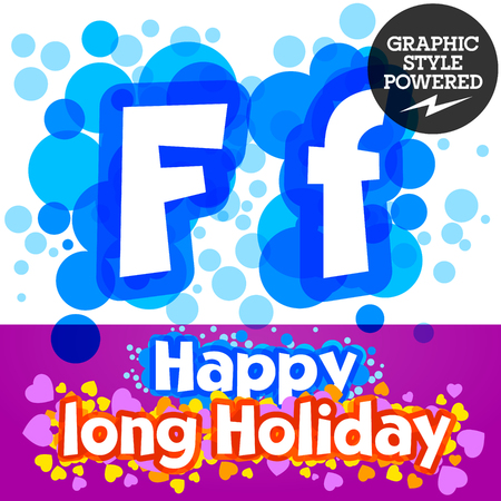 motley: set of happy festive motley alphabet. Letter F Illustration