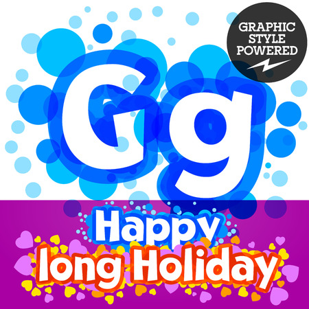 motley: Vector set of happy festive motley alphabet. Letter G