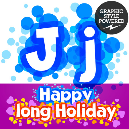 motley: set of happy festive motley alphabet. Letter J Illustration