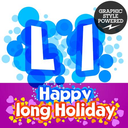 motley: set of happy festive motley alphabet. Letter L