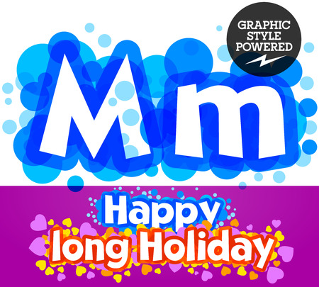 motley: set of happy festive motley alphabet. Letter M