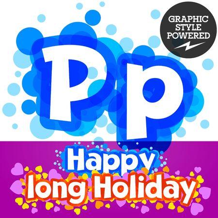 motley: set of happy festive motley alphabet. Letter P