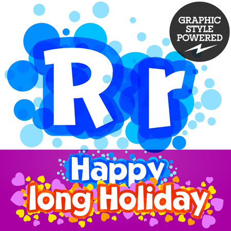 motley: Vector set of happy festive motley alphabet. Letter R