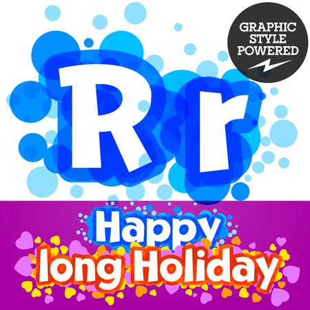 motley: Vector set of happy festive motley alphabet. Letter R