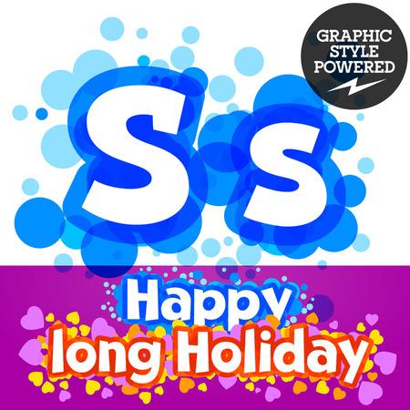 motley: Vector set of happy festive motley alphabet. Letter S