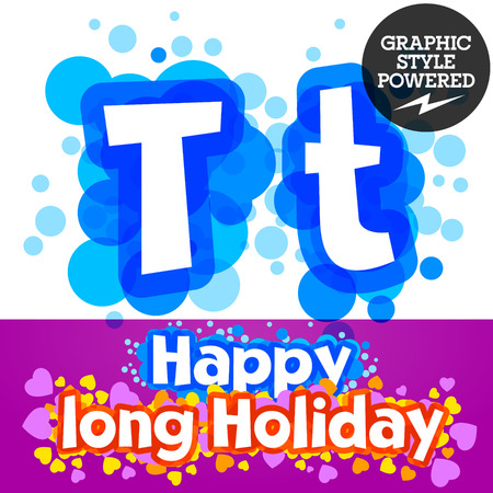 motley: set of happy festive motley alphabet. Letter T Illustration
