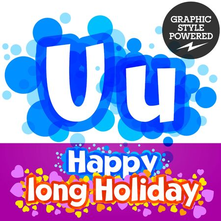 motley: set of happy festive motley alphabet. Letter U