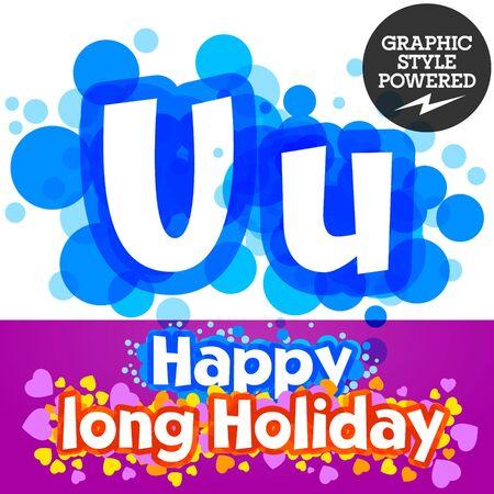 motley: set of happy festive motley alphabet. Letter U