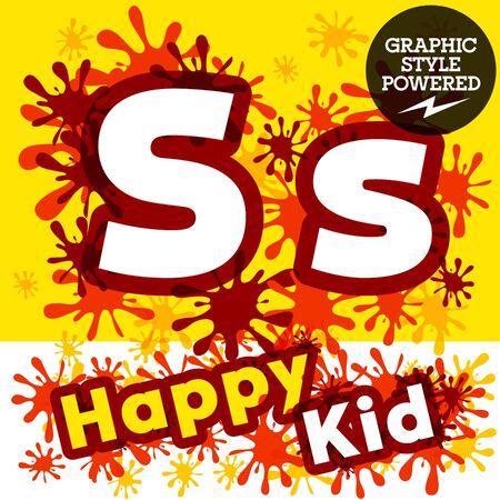 impulsive: Vector set of funny children splash alphabet. Letter S
