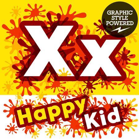 impulsive: Vector set of funny children splash alphabet. Letter X Illustration