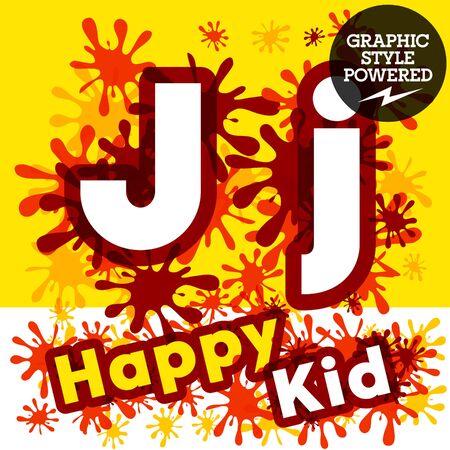 impulsive: Vector set of funny children splash alphabet. Letter J Illustration