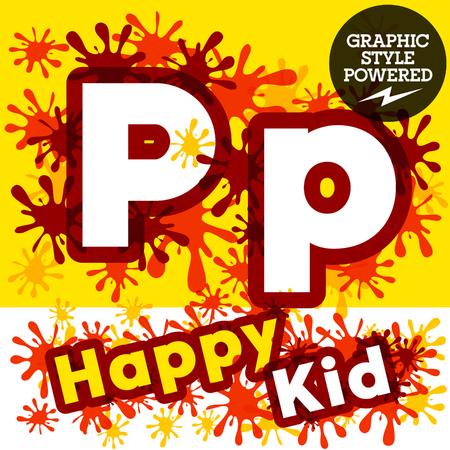 impulsive: Vector set of funny children splash alphabet. Letter P