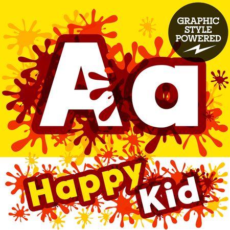 impulsive: Vector set of funny children splash alphabet. Letter A