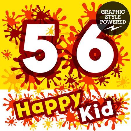 impulsive: Vector set of funny children splash alphabet. Numbers 5 6 Illustration