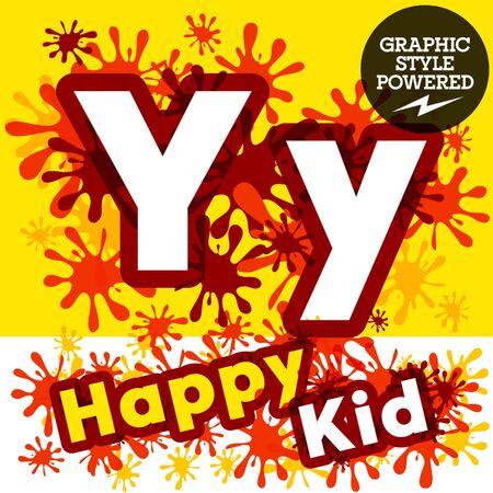 motley: Vector set of funny children splash alphabet. Letter Y Illustration