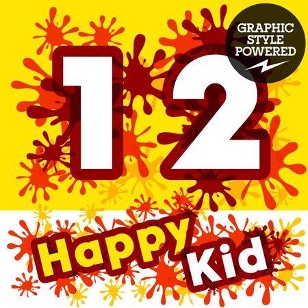 impulsive: Vector set of funny children splash alphabet. Numbers 1 2