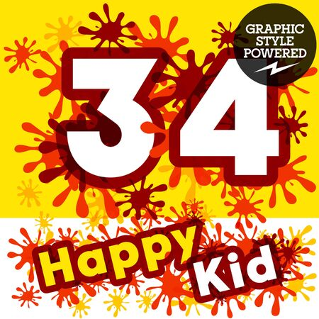 Vector set of funny children splash alphabet. Numbers 3 4 Çizim