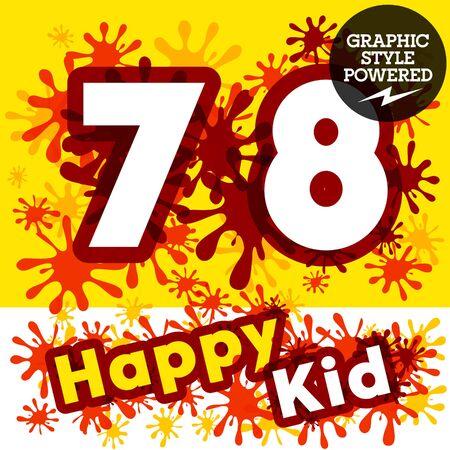 motley: Vector set of funny children splash alphabet. Numbers 7 8